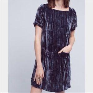 Anthropologie Floreat Velvet Dress Pockets XXS